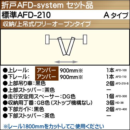 【エントリーでポイントさらに5倍】標準AFD-210使用折戸 1組用セット品 Aタイプ 【アトム】 アンバーレール長さ900mm用