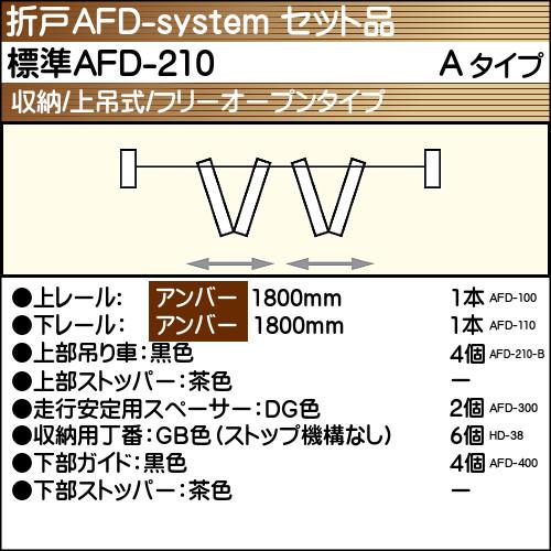【エントリーでポイントさらに5倍】標準AFD-210使用折戸 2組用セット品 Aタイプ 【アトム】 アンバーレール長さ1800mm用