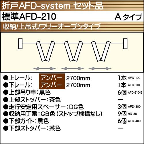 【エントリーでポイントさらに5倍】標準AFD-210使用折戸 3組用セット品 Aタイプ 【アトム】 アンバーレール長さ2700mm用
