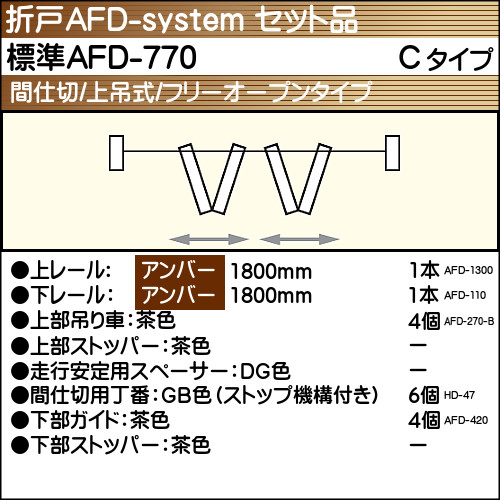 【エントリーでポイントさらに5倍】標準AFD-770使用折戸 2組用セット品 Cタイプ 【アトム】 アンバーレール長さ1800mm用