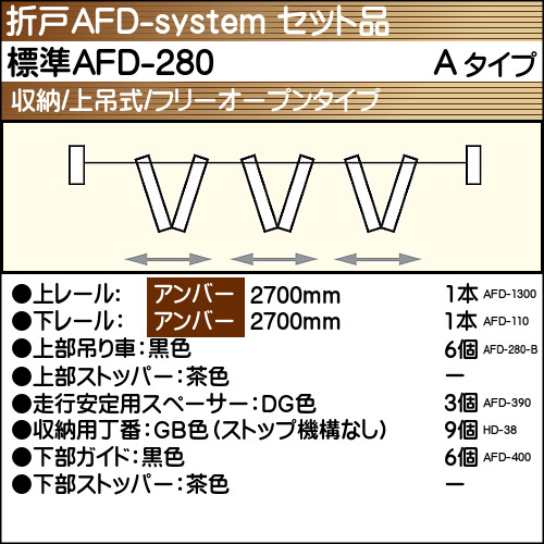 【エントリーでポイントさらに5倍】標準AFD-280使用折戸 3組用セット品 Aタイプ 【アトム】 アンバーレール長さ2700mm用