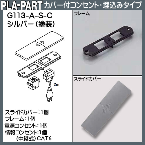 【エントリーでポイントさらに5倍】カバー付コンセント・埋め込みタイプ(施工品) CAT6 【プラパート】 G113-A-C-シルバー(塗装) (電源コード付)