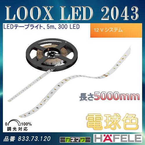 【エントリーでポイントさらに5倍】LOOX LED 2043 【HAFELE】 LED テープライト 5m 300 LED 12Vシステム 調光対応 電球色 833.73.120