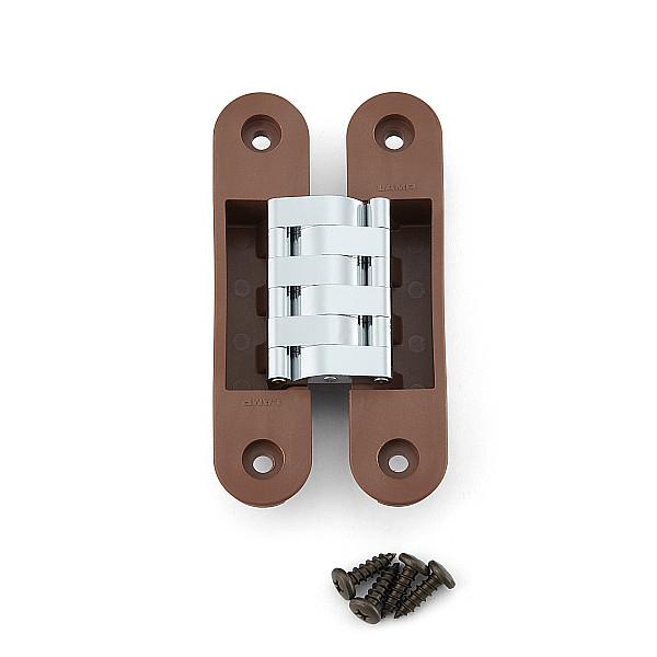 建築ドア用隠し丁番 【LAMP】 HES-3030PR-BR-10 ブラウン、クロム 耐荷重25kgf/3ヶ 【箱売り(10個入)】
