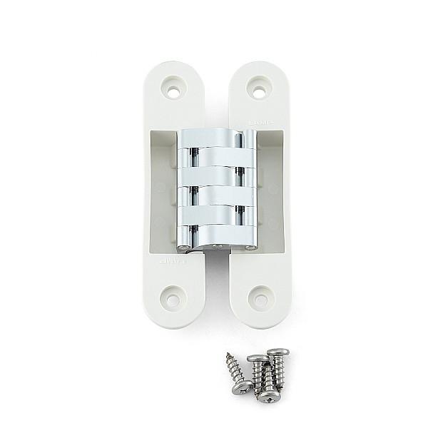 建築ドア用隠し丁番 【LAMP】 HES-3030PR-WT-10 ホワイト、クロム 耐荷重25kgf/3ヶ 【箱売り(10個入)】