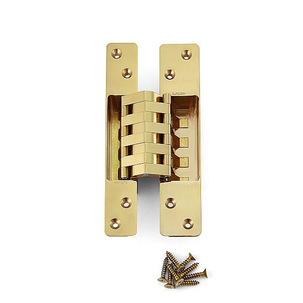 建築ドア用隠し丁番 【LAMP】 HES-3038BK-PB-6 真鍮磨き 耐荷重45kgf/3ヶ 【箱売り(6個入)】