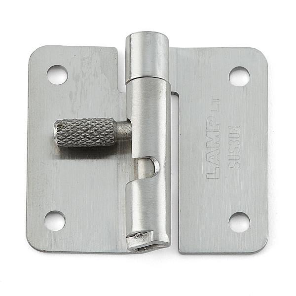ワンタッチリリースヒンジ 【LAMP】 HG-OTA45R-30 穴あり、右用 ステンサテン仕上 サイズ:45×50 耐荷重3kgf/2ヶ 【箱売り(30個入)】