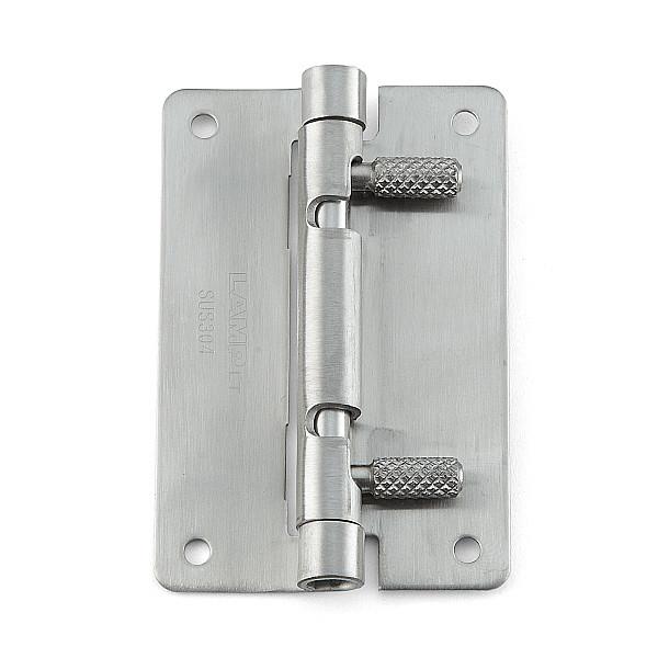 ワンタッチリリースヒンジ 【LAMP】 HG-OTA75-40 穴あり、左右兼用 ステンサテン仕上 サイズ:75×50 耐荷重6kgf/2ヶ 【箱売り(40個入)】
