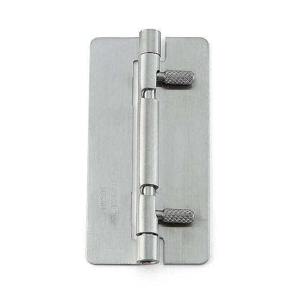 ワンタッチリリースヒンジ 【LAMP】 HG-OTB100-30 穴なし、左右兼用 ステンサテン仕上 サイズ:100×50 耐荷重7kgf/2ヶ 【箱売り(30個入)】