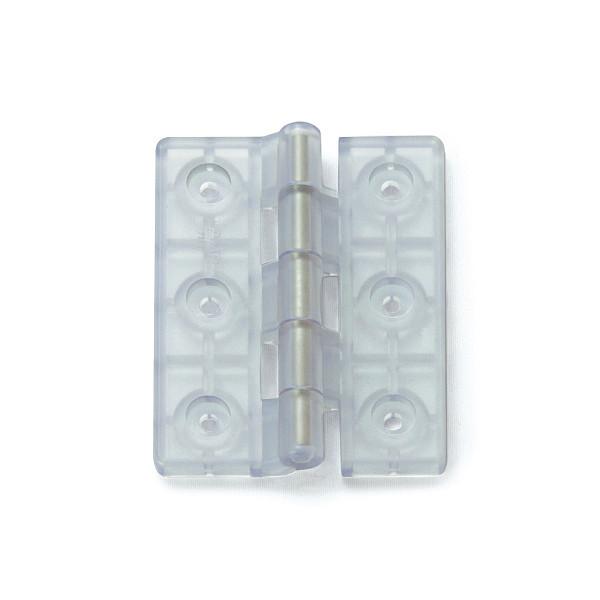 樹脂製平丁番 【LAMP】 HG-P100-30 塩化ビニル・クリア サイズ:100×80 耐荷重10kgf/2ヶ 【箱売り(30個入)】