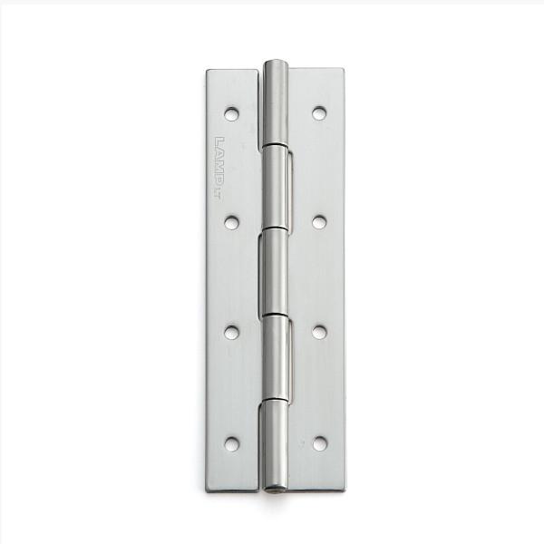 ステンレス鋼製平丁番 【LAMP】 KHA-100C-50 取付穴あり 研磨 サイズ:100×32 耐荷重19kgf/2ヶ 【箱売り(50個入)】