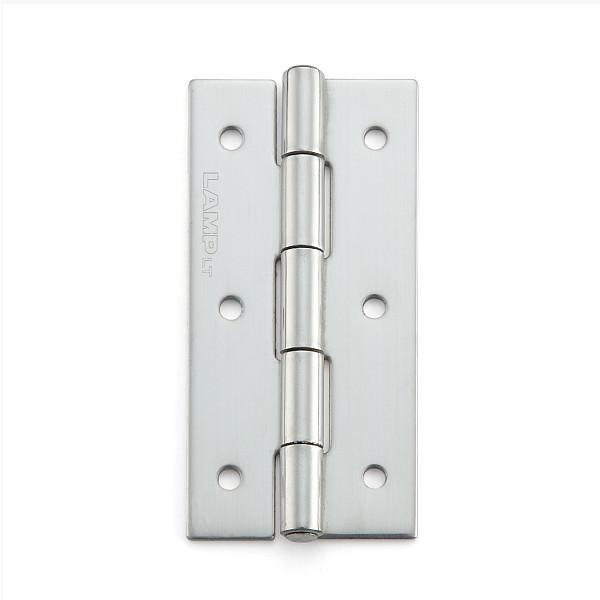 ステンレス鋼製平丁番 【LAMP】 KHA-65C-100 取付穴あり 研磨 サイズ:65×32 耐荷重12kgf/2ヶ 【箱売り(100個入)】