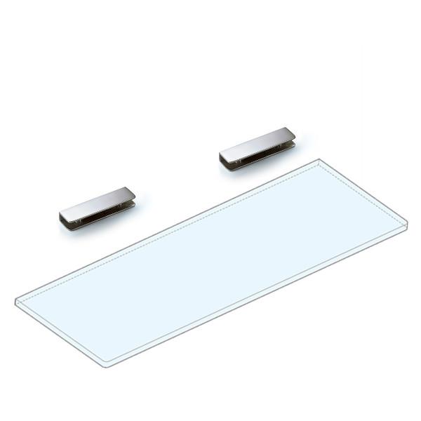 【エントリーでポイント10倍♪ 3/21 20:00~】強化ガラス棚板+棚受セット 【LAMP】 2881VA1-450-SET ステンレス鋼 鏡面研磨 W450×D150×t8 ガラス棚板付