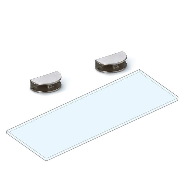強化ガラス棚板+棚受セット 【LAMP】 2884VA2-600-SET ステンレス鋼 サテン仕上 W600×D150×t8 ガラス棚板付