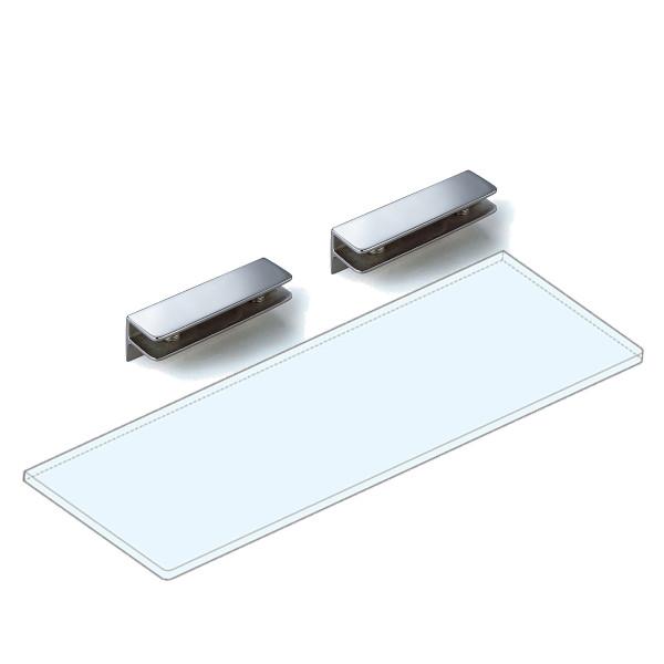 【エントリーでポイント10倍♪ 3/21 20:00~】強化ガラス棚板+棚受セット 【LAMP】 3072VA2-300-SET ステンレス鋼 サテン仕上 W300×D150×t8 ガラス棚板付