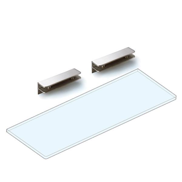 強化ガラス棚板+棚受セット 【LAMP】 3072VA2-450-SET ステンレス鋼 サテン仕上 W450×D150×t8 ガラス棚板付
