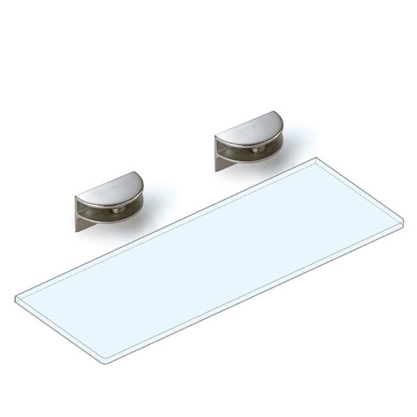 強化ガラス棚板+棚受セット 【LAMP】 3073VA1-450-SET ステンレス鋼 鏡面研磨 W450×D150×t8 ガラス棚板付