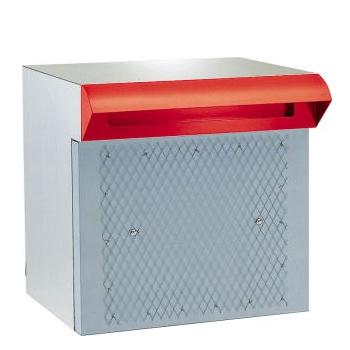 ポストぐち と 受箱一体型タイプ 【ハッピー製】 ポスト 673-r (赤色塗装品)