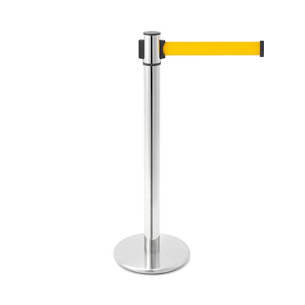 ベルトリールパーティション 【LAMP】 AP-BR091MC(MR)YE 支柱:ステン鏡面/ベース:ステンHL/ベルトカラー:イエロー ◇290-800-650