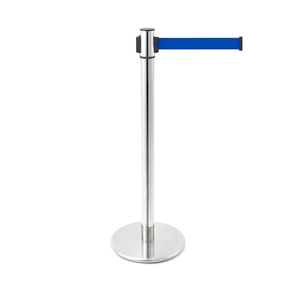 ベルトリールパーティション 【LAMP】 AP-BR103MC(MR)BU 支柱:ステン鏡面/ベース:ステンHL/ベルトカラー:ブルー ◇290-017-826