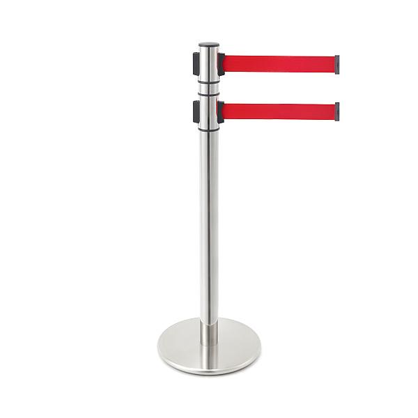 ベルトリールパーティション 【LAMP】 AP-BR132M(MR)RD 支柱:ステン鏡面/ベース:ステンHL/ベルトカラー:レッド ◇290-894-931
