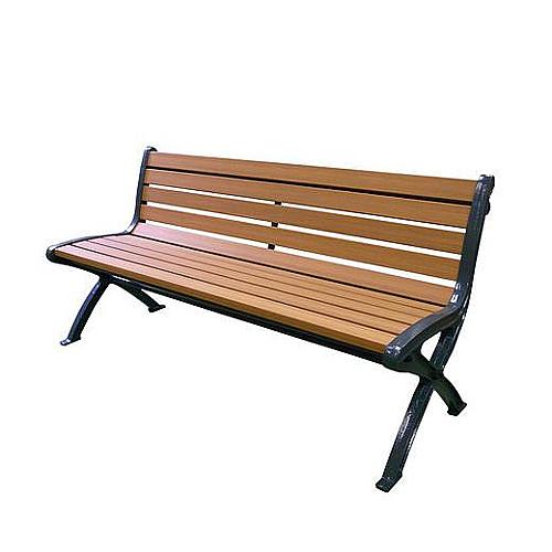 座板に再生樹脂を使用した廉価タイプのベンチ  リサイクルベンチ RB5 【ミヅシマ】 RB5-SW1.5背付 249-0130 重量:約52.3kg 組立式