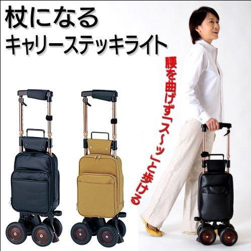 (茶)キャリーステッキライト☆杖になる薄型でも安定した4輪カート (茶), 山添村:443a84b2 --- officewill.xsrv.jp