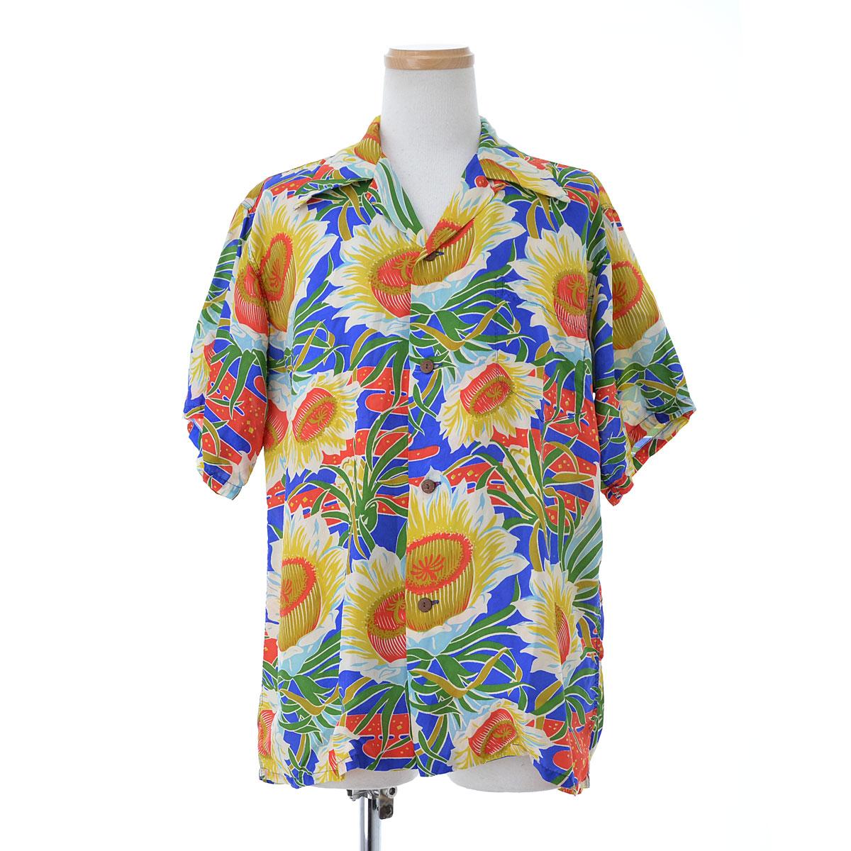 VINTAGE / ヴィンテージ50s Hawaiian Casuals社製 オーバーパターンハワイアン半袖シャツ【ヴィンテージ】【送料無料】【cabeahab-m】