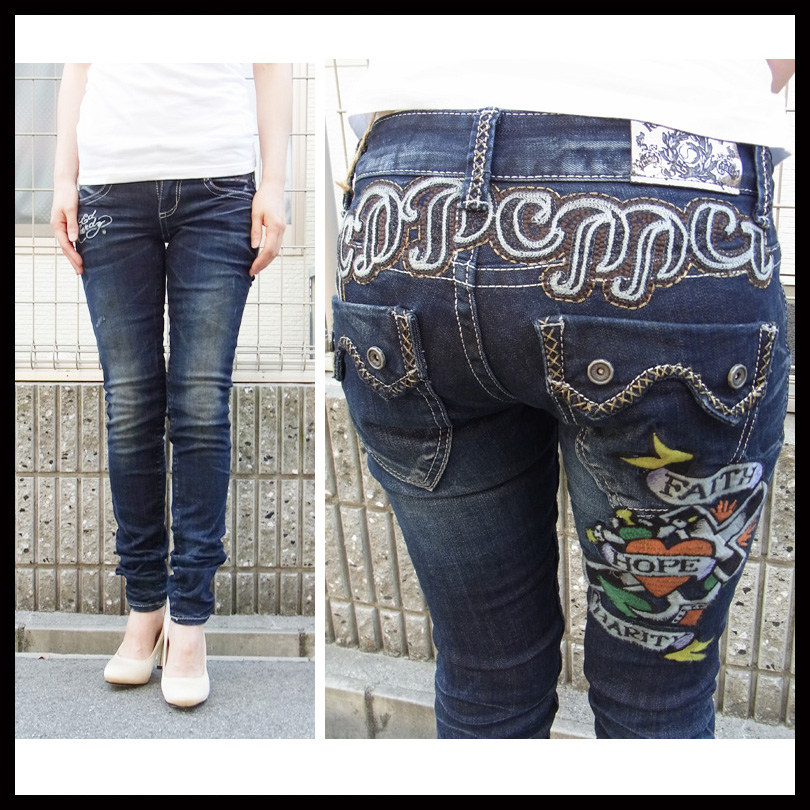 Jeans red pepper (RED PEPPER) Ed Hardy (Hardy) コラボモデル ladies skinny jeans denim pants REDPEPPER skull hard flower embroidery beautiful legs skinny pants 566