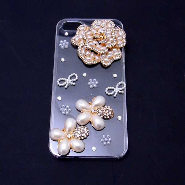 IPhone 5 case iphone5 decoration case # 12 flowers / ribbons / flower Pearl iPhone 5 dekocasecovercase/iPhone 5 case / smahocase / brand / smart phone case / handmade / Deco / iPhone 5 Ribbon /