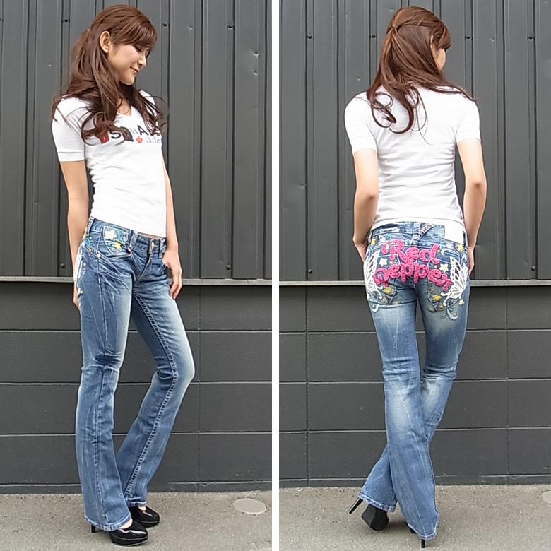 Red pepper jeans ( RED PEPPER ) タイトフレアブーツ cut denim jeans Butterfly Butterfly flower flower embroidery スリムブーツ cut jeans 5619-4!