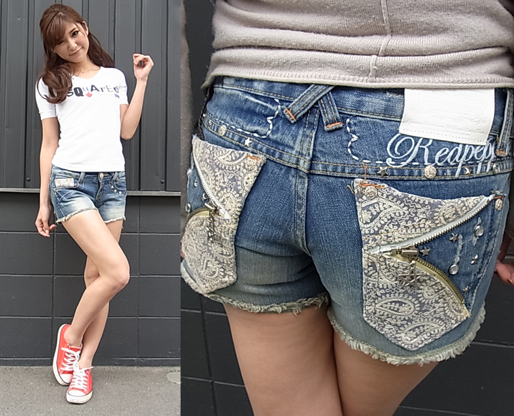 ( REDPEPPER ) red pepper RED PEPPER women's short jeans #5603 ゴージャスペイズリー embroidered denim shorts!