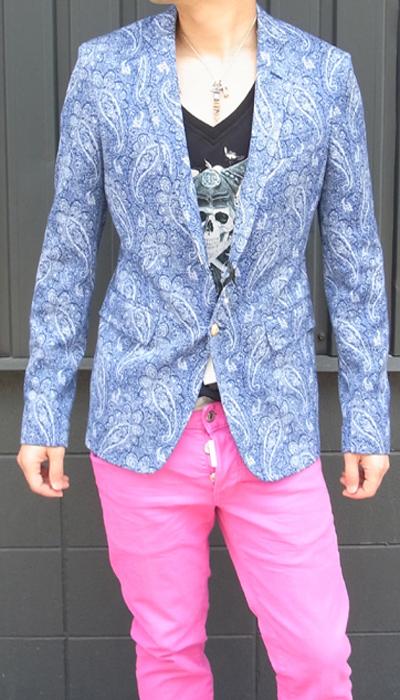 ブライアンダレス(BRIAN DALES) メンズ ペイズリー柄ジャケット サイドベンツ/シングル 2ボタン2015SS春夏新作BRIAN DALES-G38-JK2658【ブルー】