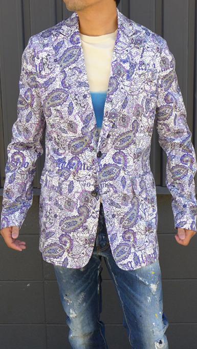 ガリアーノ(Galliano)メンズ ニュースペーパープリントデザインジャケットコットン素材 2つボタン 素John Galliano-326R2515【パープル】新品メンズイタリア製送料無料