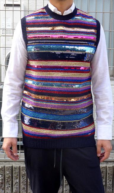 ディースクエアード (DSQUARED2)メンズ クルーネック ニットベストスパンコール デザイン セーター ジレDSQUARED2-S71HA0690【ネイビー×マルチカラー】