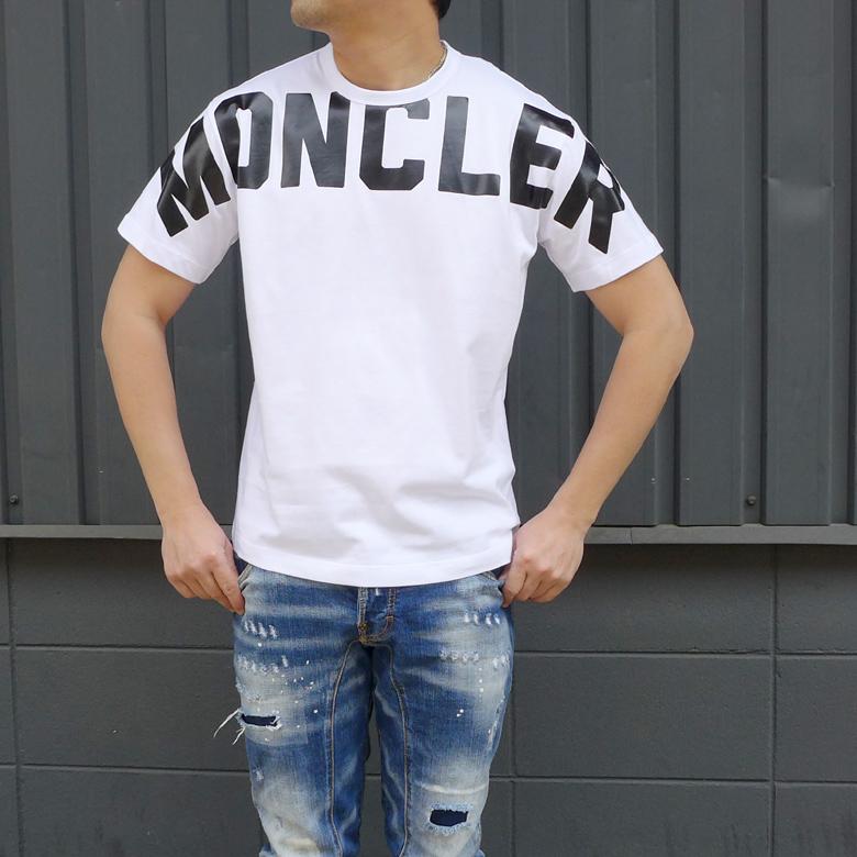 MONCLER(モンクレール)メンズクルーネックTシャツ 2020 SS 春夏新作 メンズ 半袖Tシャツボックスロゴプリント カットソー MONCLER-8C70410 8390T【ホワイト】MAGLIA T-SHIRT新品 送料無料