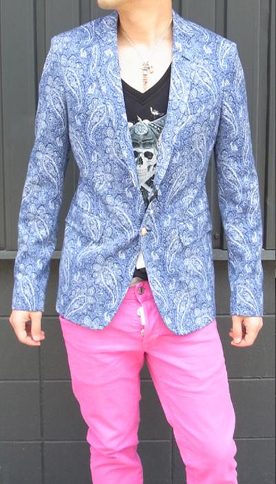 マッシモ レベッキ(MASSIMO REBECCHI) メンズ ダイヤ柄ジャケット センターベンツ/シングル 2ボタン2015SS春夏新作MASSIMO REBECCHI-QOB107U4【ブルー】