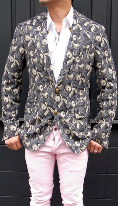 ガブリエレ パジーニ(GABRIELE PASINI)メンズ ペイズリー織り柄ジャケット サイドベンツ/シングル2015SS春夏新作 Gabriele Pasini 1B Shawl Collar Jersey JacketGABRIELE PASINI-G4425-9288【ネイビー×ベージュ×グレー】