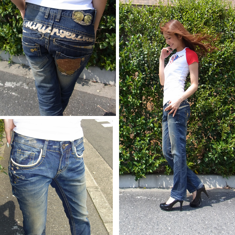 Lolita jeans ( LOLITA JEANS ) LOLITAJEANS ladies Angel embroidery ボーイズストレート denim jeans denim boy friend 1251! Red pepper RED PEPPER