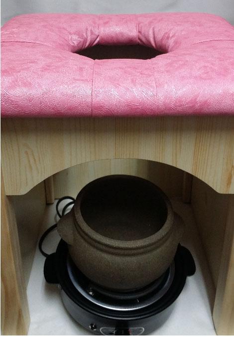 黄土小鉢を利用した自宅黄土ヨモギ蒸し椅子セット、黄土壺、3番椅子
