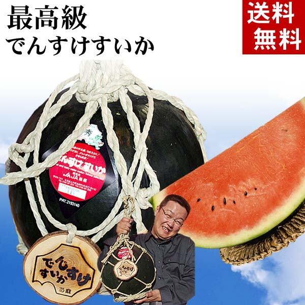 (送料無料)最高級でんすけすいか 秀品 3L大型 8kg コモ(縄)縛りの飾りつけ。黒い皮の中には赤の果肉、伝助・田助西瓜。ギフトに喜ばれる北海道のデンスケスイカ/でんすけスイカ、旬のフルーツグルメ通販(くだものギフト お中元)