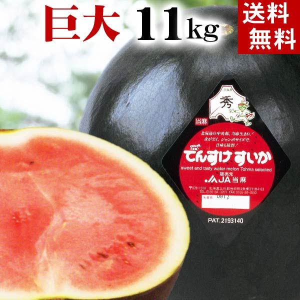 (送料無料)巨大でんすけすいか 秀品 6L 11kg以上 黒い皮の中には赤の果肉、伝助・田助西瓜。ギフトに喜ばれる北海道のデンスケスイカ、旬のフルーツ グルメ食品 フルーツ・果物 スイカ 黒皮スイカ でんすけスイカ お中元 御中元 ギフト