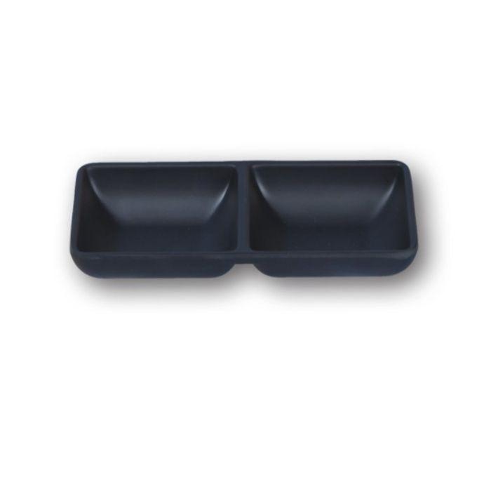 軽くて割れにくい おしゃれな新開発メラミン食器 スタイリッシュ メラミン食器 たれ角皿 Mat 2連 Black スーパーSALE 超人気 セール期間限定