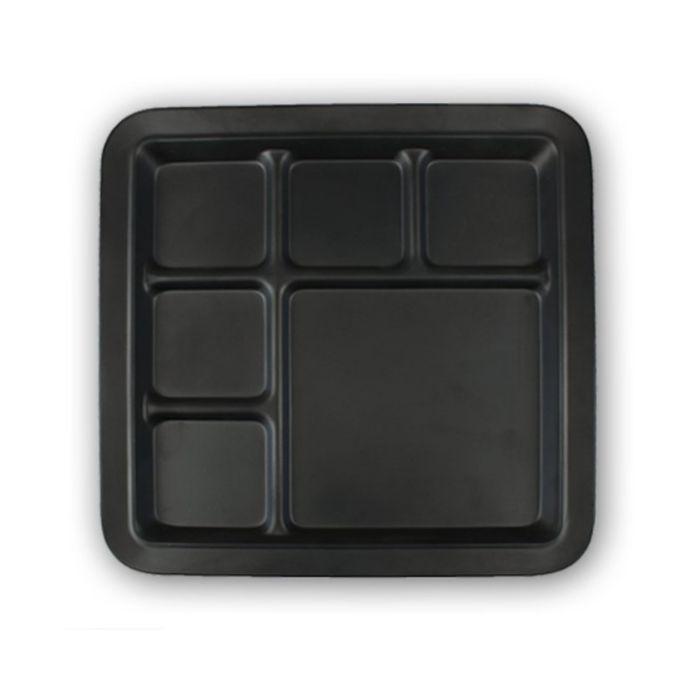 軽くて割れにくい おしゃれな新開発メラミン食器 スタイリッシュ メラミン食器 6仕切り ランチプレート Mat アウトレット 新作 Black