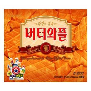 日本人の口に一番合うお菓子と言われています 人気商品 韓国旅行のおみやげで常に上位にランキング ※日本語版■CROWN セール商品 1包3枚入り×12 バターワッフル316g ※日本語版