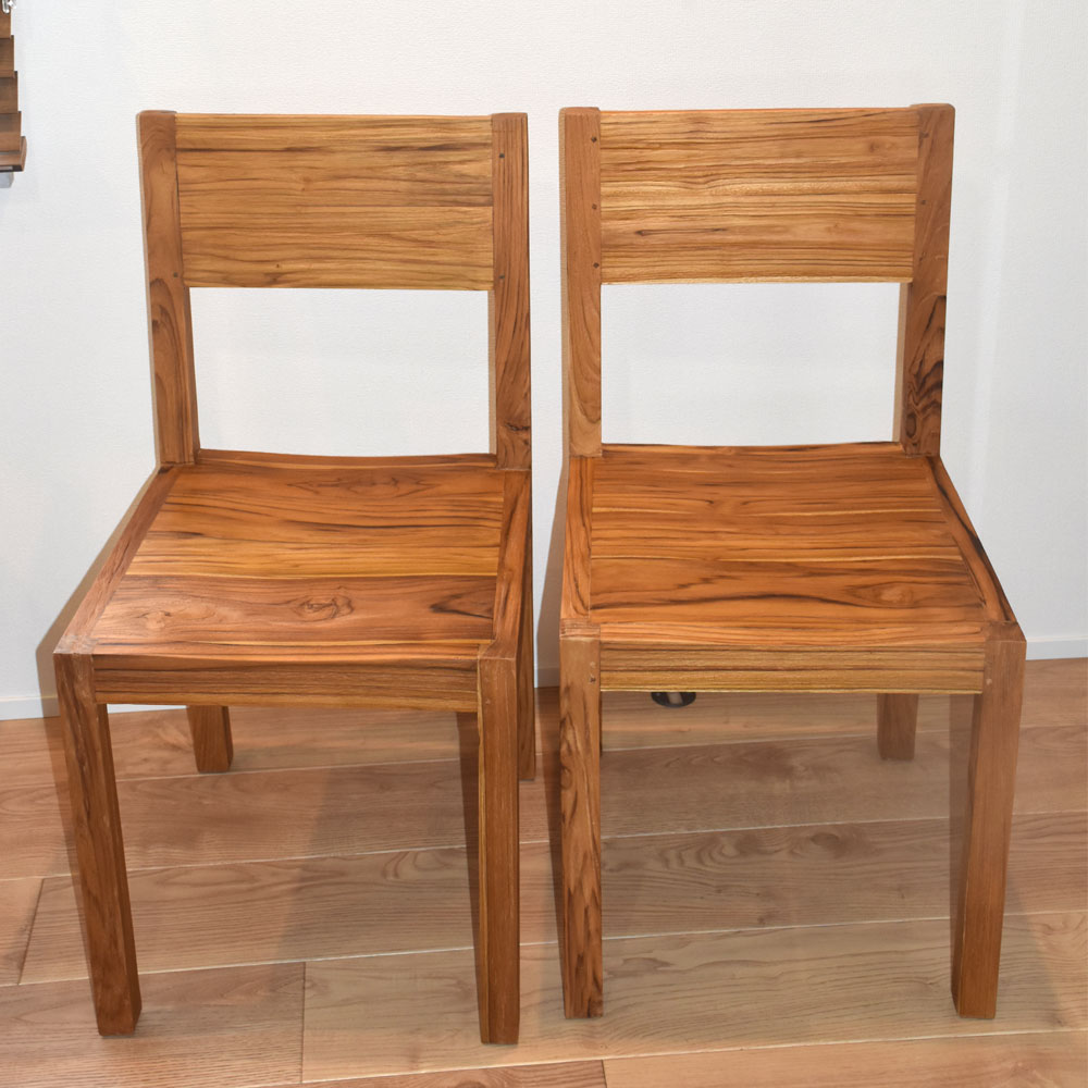 ダイニングチェア 無垢 2脚セット セット 2脚 チーク材 送料無料 チェア いす 椅子 木製 チーク材 無垢材 天然木 家具 アジアン家具 ダイニングチェアー バリ 家具 インテリア モダン おしゃれ 椅子