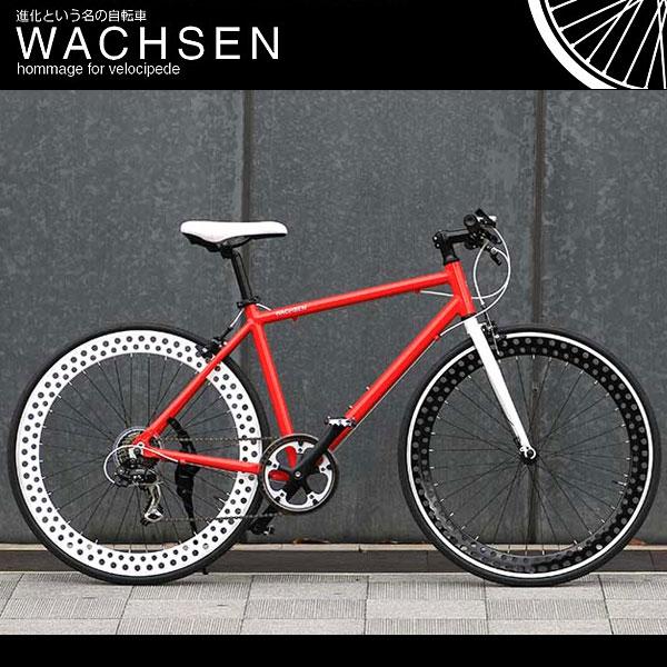700C クロスバイク [シマノ7段変速 アルミフレーム ディープリム スタンド 自転車 ヴァクセン WACHSEN]bsc-7001