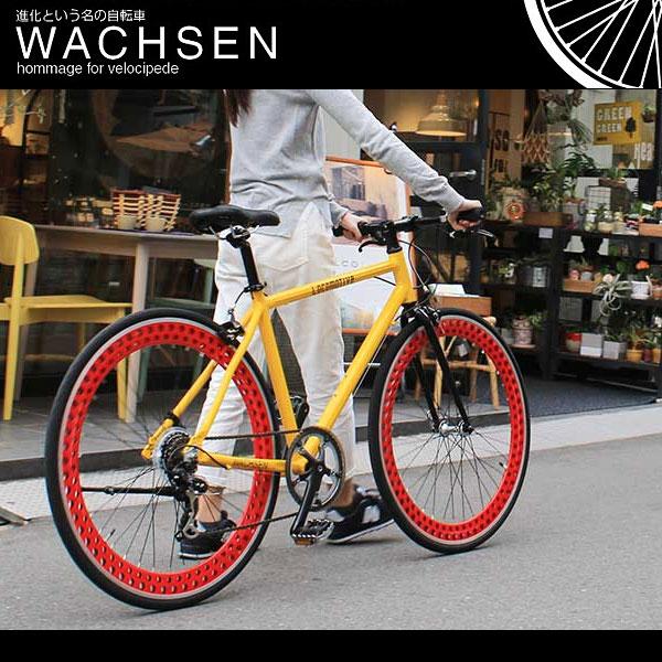 【訳あり】700C クロスバイク シマノ7段変速 アルミフレーム ディープリム スタンド 自転車 ヴァクセン WACHSEN bsc-7002
