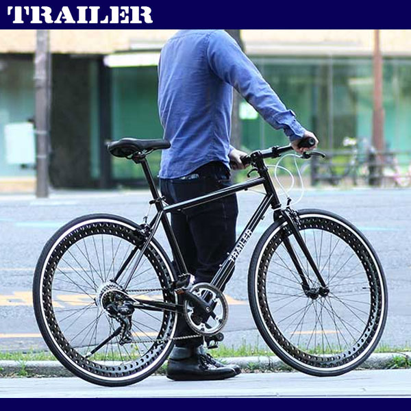 700C クロスバイク ブラック シマノ6段変速 軽量 ディープリム 自転車 スタンド TR-C7001