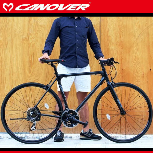 700C クロスバイク 470mm ブラック シマノ21段変速 軽量 アルミフレーム ライト 自転車 CANOVER カノーバー cac-021